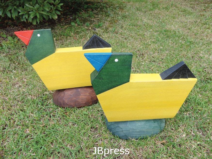 최승천(목칠공예), 새가 있는 풍경 S-1213 & 14, 목재에 채색,  300x200x140(x2)mm, 2012.jpg