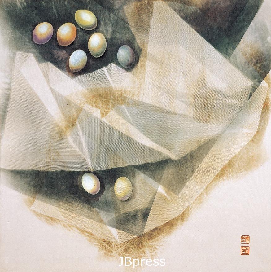 김지희(섬유공예), 보(褓)   시그마4, 전사염, 880x880mm, 1990.jpg